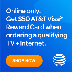 OnlineOnly-Get $50 AT&T Visa Reward Card when ordering a qualifying TV and Internet