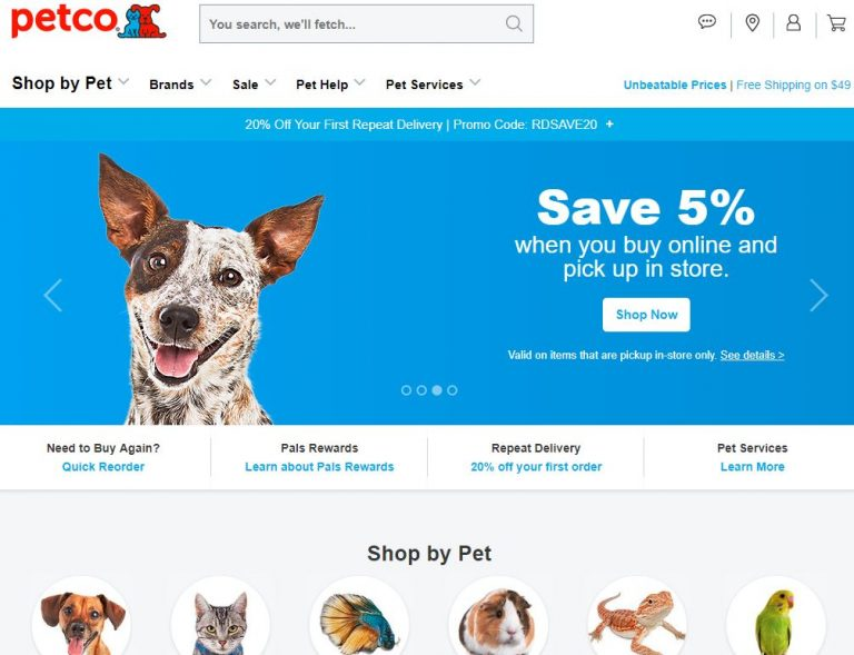 Petco Animal Supplies-PETCO Animal Supplies-20% off + Free Shipping on orders of $75 or more (Valid 10/16-10/18 max discount $20)