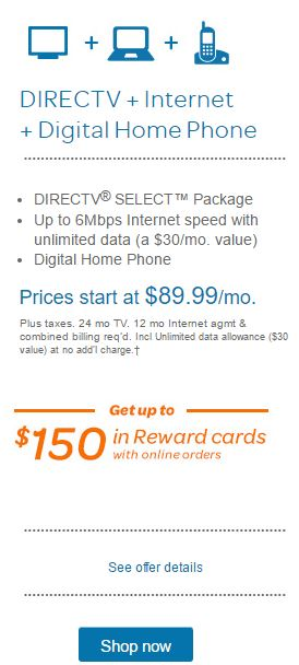 ATT-DirecTv-Internet-digital-home-phone-89.99-per-month-150-reward-card-promo