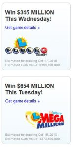 MegaMillion and PowerBall Lottery Game Oct 2018